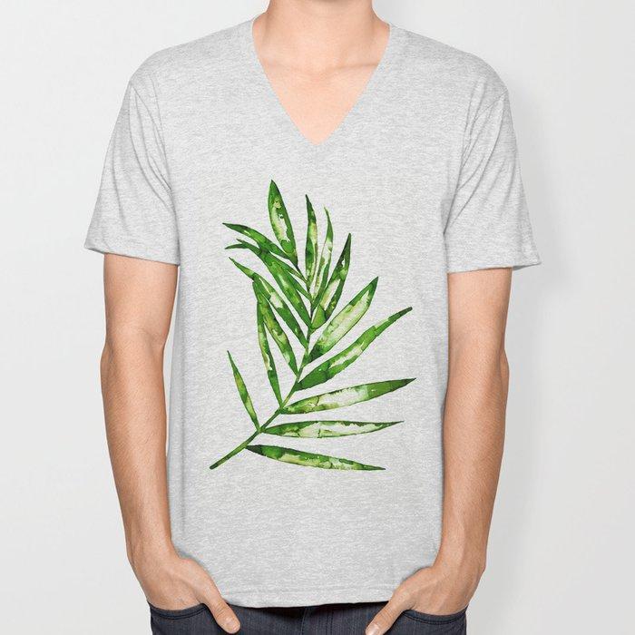 Green ink painting - fern Unisex V-Neck