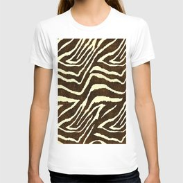 Animal Print Zebra in Winter Brown and Beige T-shirt