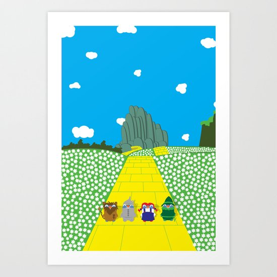 Pengwins that are following a brick road that is yellow Art Print