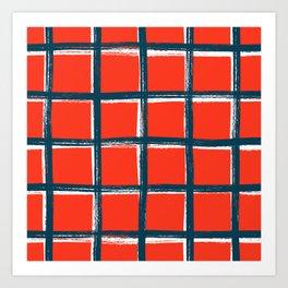 Red plaid, pool tiles pattern, tartan Art Print