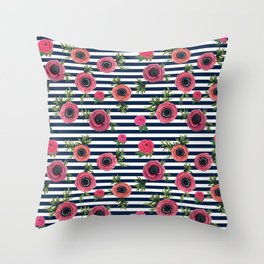 Watercolor Flowers with Nautical Stripes Throw Pillow