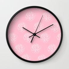 Pink Pastel Peony Pattern Wall Clock