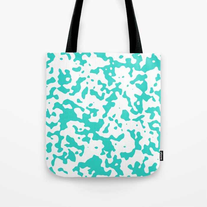 Spots - White and Turquoise Tote Bag
