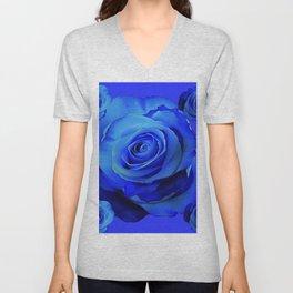 BLUE ROSES & BLUE  MODERN ART CONCEPT Unisex V-Neck