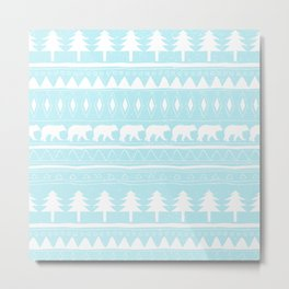 From Bears Winter And Christmas - Cute teal XMas Pattern Metal Print