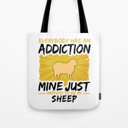 Sheep Addiction Funny Farmer Animal Lover Tote Bag
