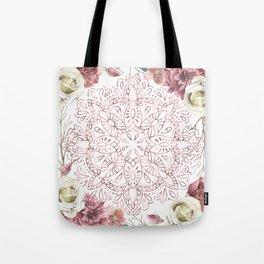 Mandala Garden Roses Warm Rose Gold Tote Bag