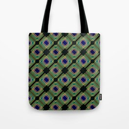 Gold Foil Boxes in Boxes Peacock Blue on Black Tote Bag
