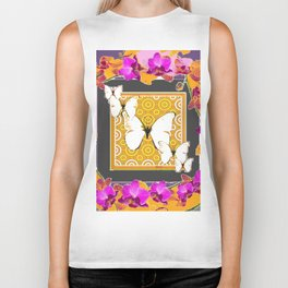 White Butterflies Pattern Purple-Pink Orchids Gold Art Biker Tank