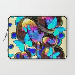 IRIDESCENT  BUBBLES BLUE BUTTERFLIES PEACOCK EYES ART DESIGN decor, furnishings Laptop Sleeve