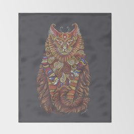 Maine Coon Cat Totem Throw Blanket