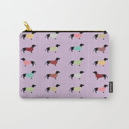 Dachshund Pattern with Purple Sweaters #251 Carry-All Pouch