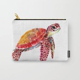 Baby Turtle decor, nursery art decor children room orange red Carry-All Pouch