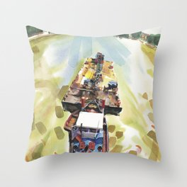 A barge and a boat glide together down the Seine, Paris Throw Pillow