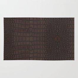 Alligator Brown Leather Print Rug