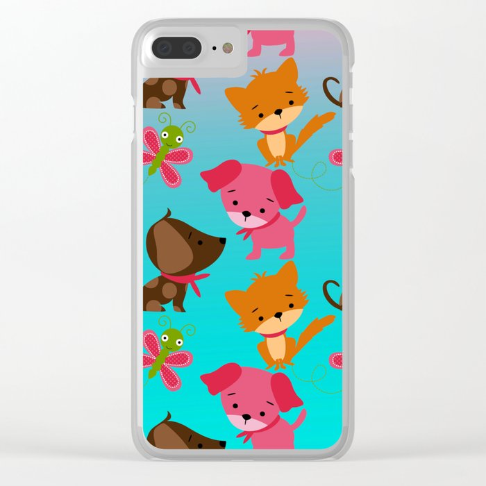 Kitty and Puppy Pattern Clear iPhone Case