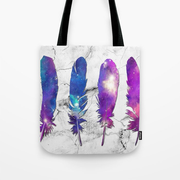 marble galaxy feathers Tote Bag