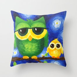 Colorful Owl Family Throw Pillow