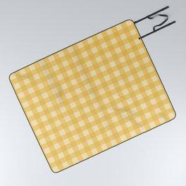 Gingham Pattern - Yellow Picnic Blanket