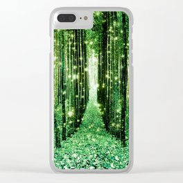 Magical Forest Green Elegance Clear iPhone Case