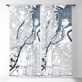 Copenhagen Map Indigo Blue Watercolor by Zouzounio Art Blackout Curtain