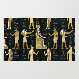 Egyptian Gods Gold and white on dark glass Rug