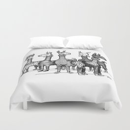 Llamas in Pajamas in Black and  White Duvet Cover