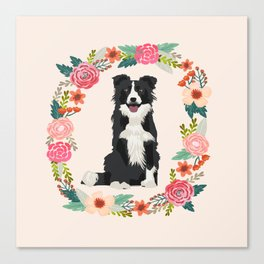 border collie black and white floral wreath dog gifts pet portraits Canvas Print