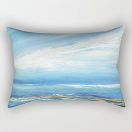 Italianmarinepainter: seascape for my first scarf , landscape , vision of sea, my abstract seascape Rectangular Pillow