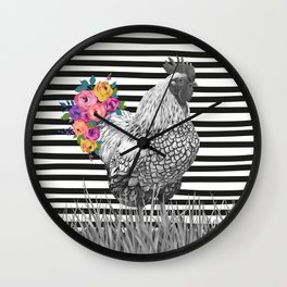 Chicken Bouquet Wall Clock