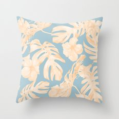 Island Vacation Hibiscus Palm Coral Sky Blue Throw Pillow