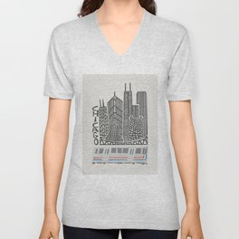 Chicago Cityscape Unisex V-Neck