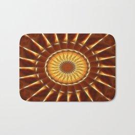 Brown Tan Gold Kaleidoscope Art 12 Bath Mat