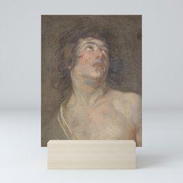 Anthony van Dyck - Study Head of a Young Man Looking Upwards St Sebastian Mini Art Print