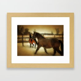 Horses Along a Fence in Snow in Winter. Golden Age Painting Style. Framed Art Print
