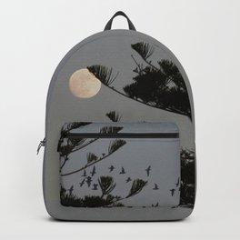 Araucaria tree, full moon, flight of birds Backpack