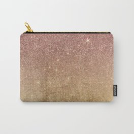 Pink Rose Gold Glitter and Gold Foil Mesh Carry-All Pouch