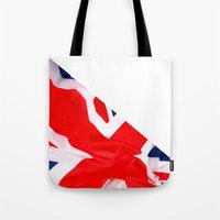 british flag Tote Bags featuring Im British by Stitched up designs