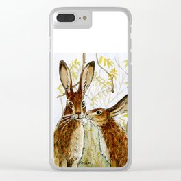 Funny bunnies - Little Kiss 543 Clear iPhone Case