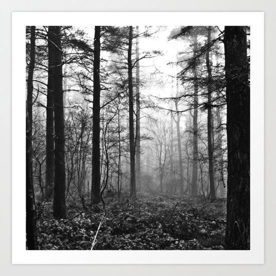 Dark & Eerie Foggy Forest (Black & White) Art Print