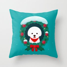Christmas Bichon Throw Pillow
