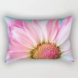 Beautiful Pink Flower Macro, Turquoise Blue Backdrop Rectangular Pillow