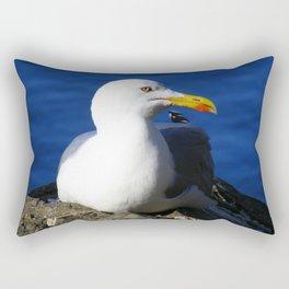 Seagull resting on Blue Ocean Background Rectangular Pillow
