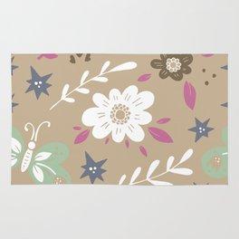 Flowers and butterflies In Brown Pattern Rug