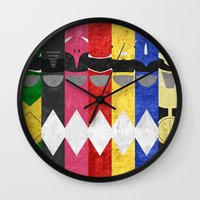 power rangers Wall Clocks featuring Mighty Morphin Power Rangers by Some_Designs