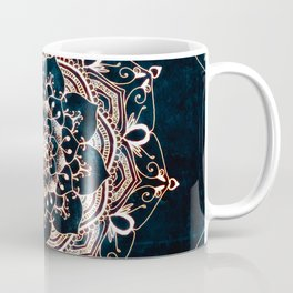 Glowing Spirit Mandala Blue White Coffee Mug
