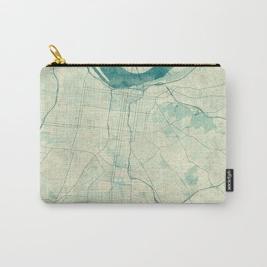 Louisville Map Blue Vintage Carry-All Pouch