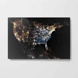 North America and the United States aerial view from outer space at night Metal Print