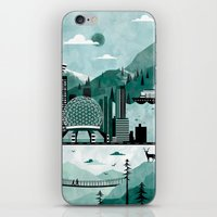 travel poster iPhone & iPod Skins featuring Vancouver Travel Poster Illustration by ClaireIllustrations