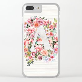 Initial Letter A Watercolor Flower Clear iPhone Case